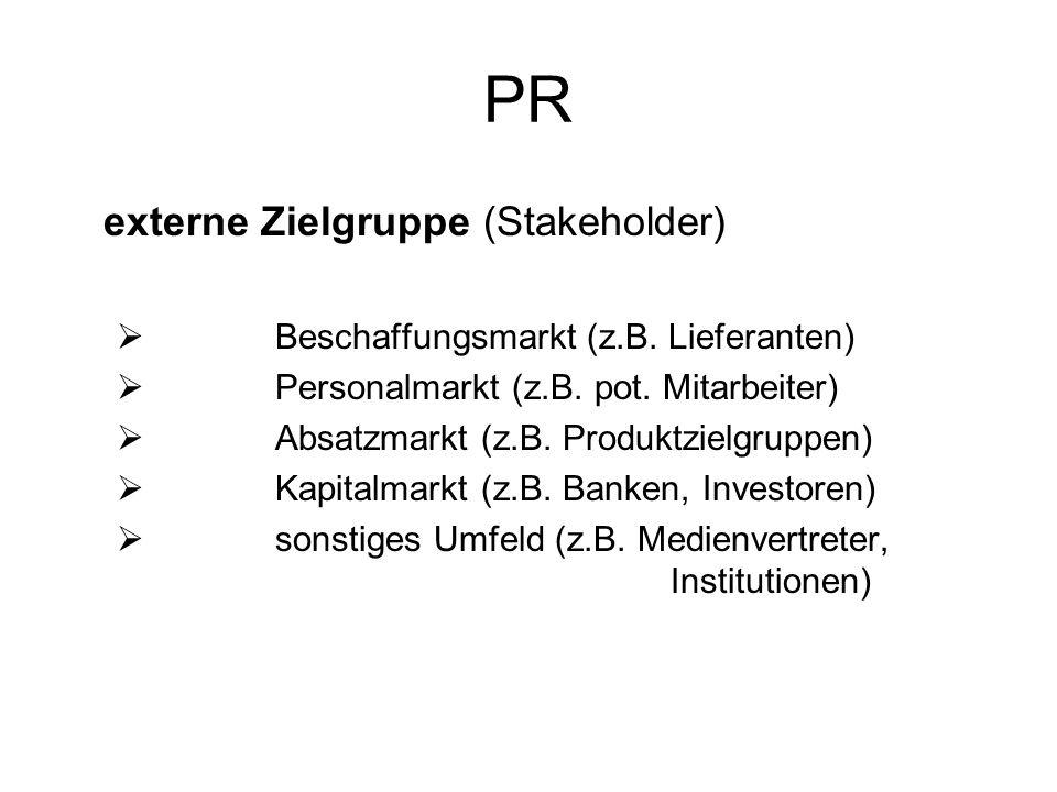 PR externe Zielgruppe (Stakeholder) Beschaffungsmarkt (z.B. Lieferanten) Personalmarkt (z.B. pot. Mitarbeiter) Absatzmarkt (z.B. Produktzielgruppen) K