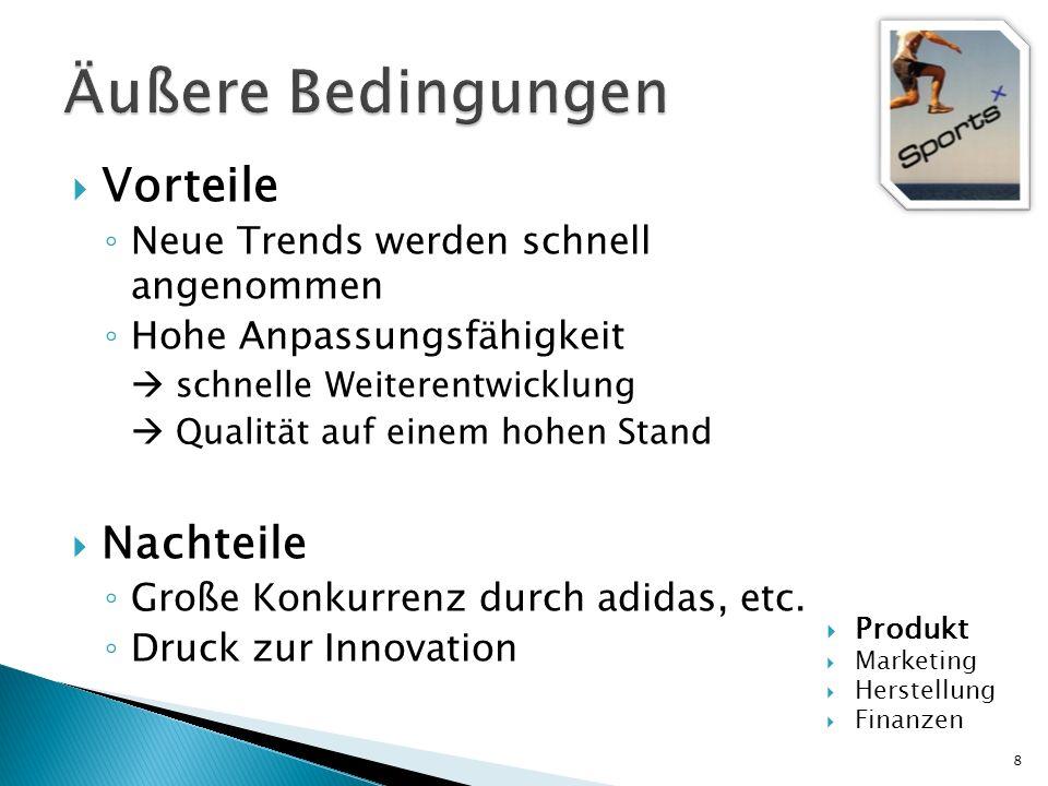Zielgruppe: Alter: Jugendliche und Erwachsene bis ins hohe Alter Lifestyle: Hobbysportler und Profisportler Werte: Trend, Flexibilität, Qualität 9 Produkt Marketing Herstellung Finanzen