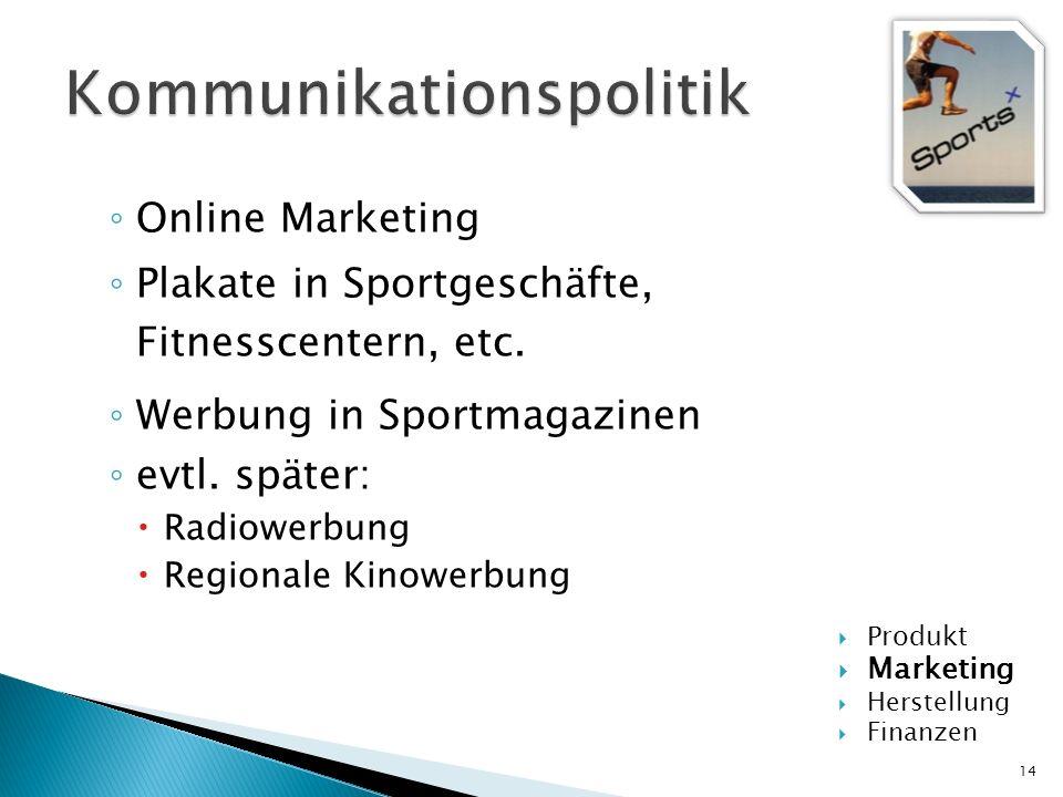 Online Marketing Plakate in Sportgeschäfte, Fitnesscentern, etc. Werbung in Sportmagazinen evtl. später: Radiowerbung Regionale Kinowerbung 14 Produkt