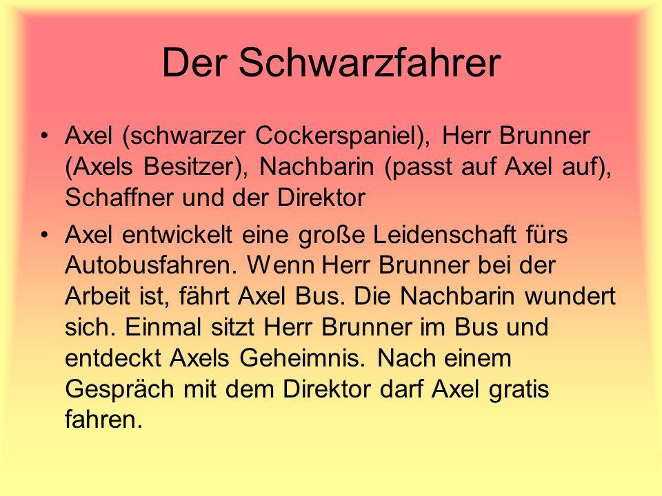 Der Schwarzfahrer Axel (schwarzer Cockerspaniel), Herr Brunner (Axels Besitzer), Nachbarin (passt auf Axel auf), Schaffner und der Direktor Axel entwi