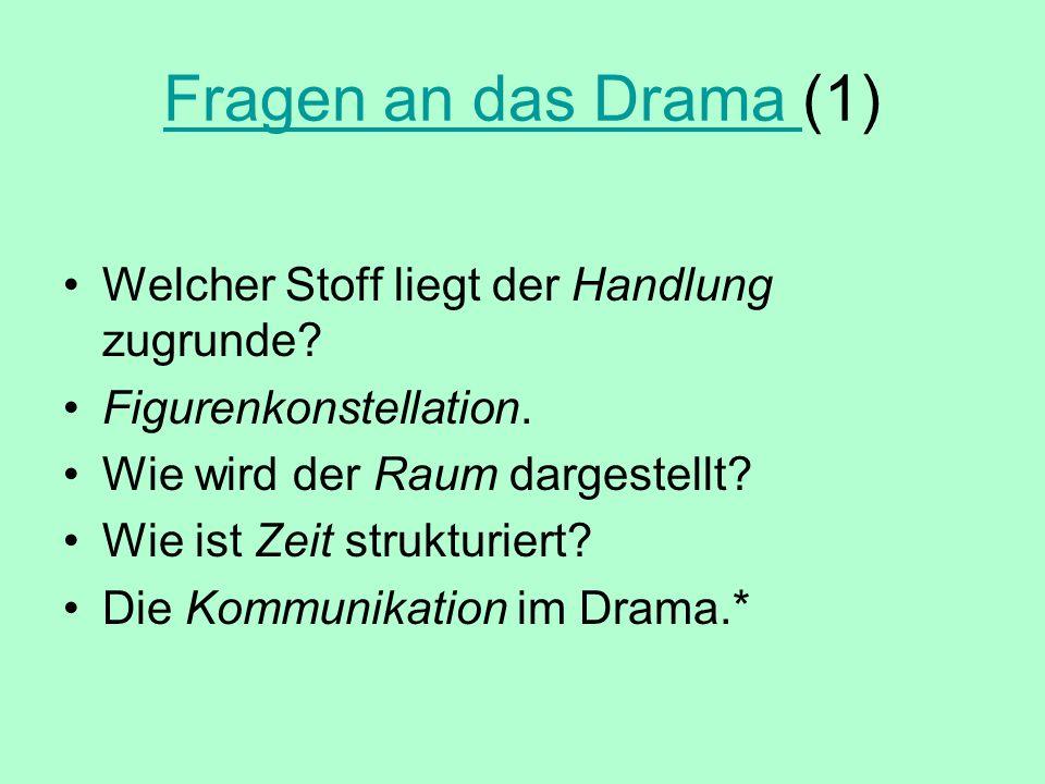 Fragen an das Drama Fragen an das Drama (1) Welcher Stoff liegt der Handlung zugrunde? Figurenkonstellation. Wie wird der Raum dargestellt? Wie ist Ze