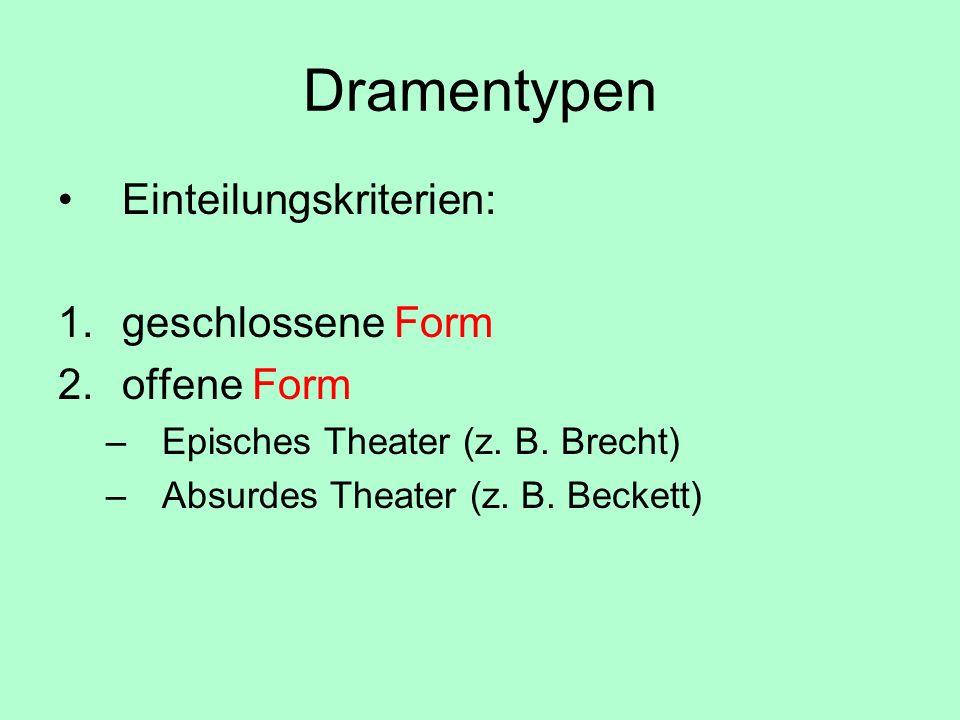 Dramentypen Einteilungskriterien: 1.geschlossene Form 2.offene Form –Episches Theater (z. B. Brecht) –Absurdes Theater (z. B. Beckett)