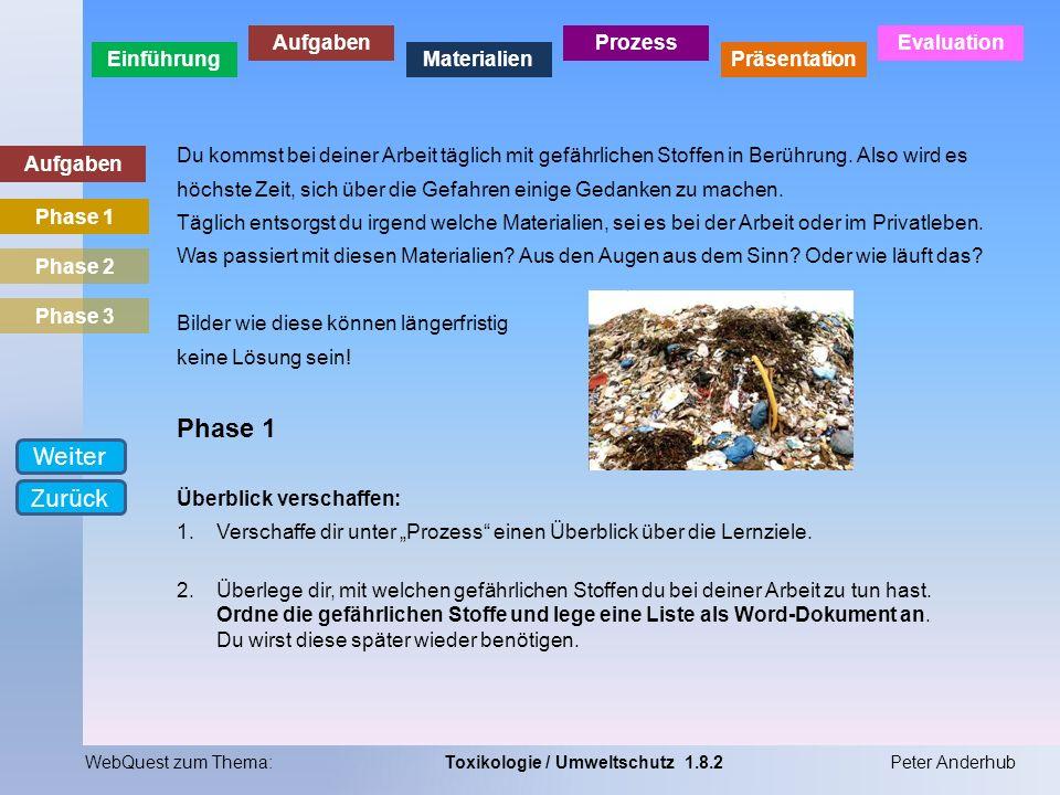 Einführung Aufgaben Materialien Prozess Präsentation Evaluation WebQuest zum Thema:Toxikologie / Umweltschutz 1.8.2Peter Anderhub Aufgaben Du kommst b