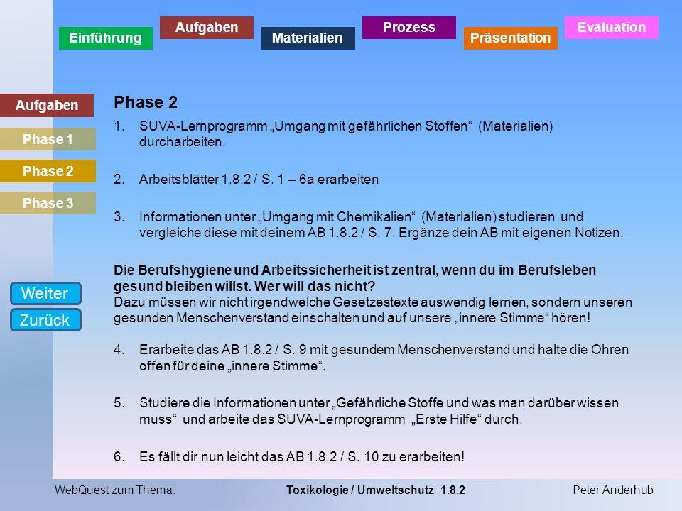 Einführung Aufgaben Materialien Prozess Präsentation Evaluation WebQuest zum Thema:Toxikologie / Umweltschutz 1.8.2Peter Anderhub Aufgaben Phase 2 1.S