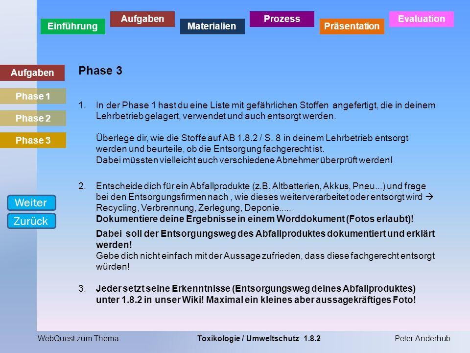 Einführung Aufgaben Materialien Prozess Präsentation Evaluation WebQuest zum Thema:Toxikologie / Umweltschutz 1.8.2Peter Anderhub Aufgaben Phase 3 1.I