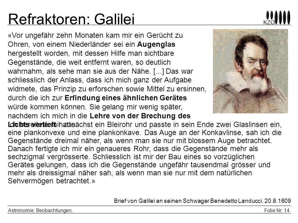 Folie Nr. 14 Astronomie. Beobachtungen. Refraktoren: Galilei Brief von Galilei an seinen Schwager Benedetto Landucci, 20.8.1609 Ich bereitete mir zunä
