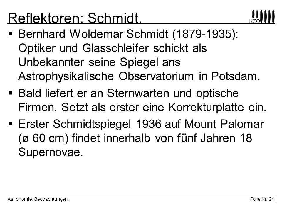 Folie Nr. 24 Astronomie. Beobachtungen. Reflektoren: Schmidt. Bernhard Woldemar Schmidt (1879-1935): Optiker und Glasschleifer schickt als Unbekannter