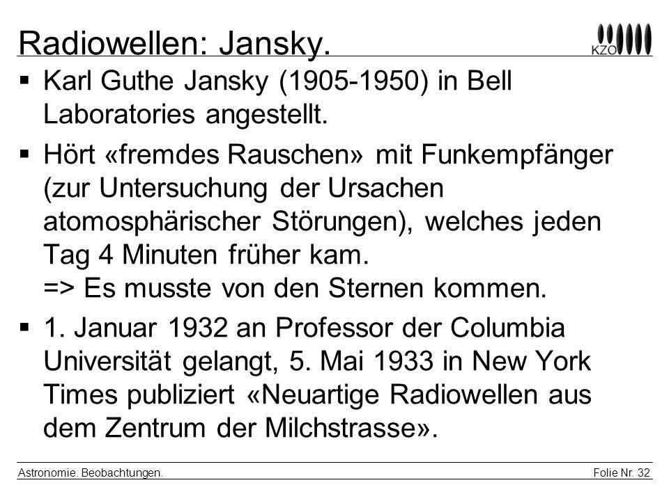Folie Nr. 32 Astronomie. Beobachtungen. Radiowellen: Jansky. Karl Guthe Jansky (1905-1950) in Bell Laboratories angestellt. Hört «fremdes Rauschen» mi