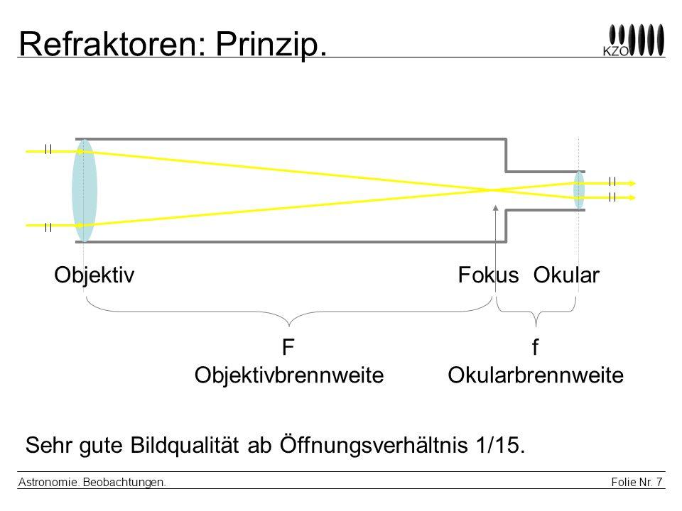 Folie Nr. 7 Astronomie. Beobachtungen. Refraktoren: Prinzip. FokusObjektivOkular F Objektivbrennweite f Okularbrennweite Sehr gute Bildqualität ab Öff