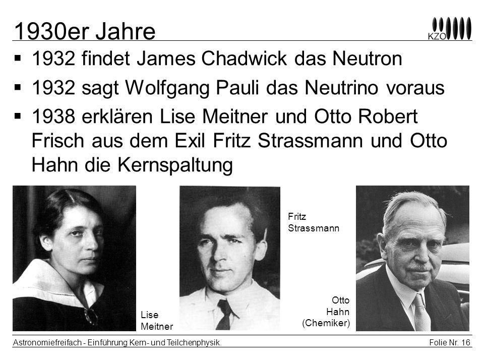 Folie Nr. 16 Astronomiefreifach - Einführung Kern- und Teilchenphysik. 1930er Jahre 1932 findet James Chadwick das Neutron 1932 sagt Wolfgang Pauli da