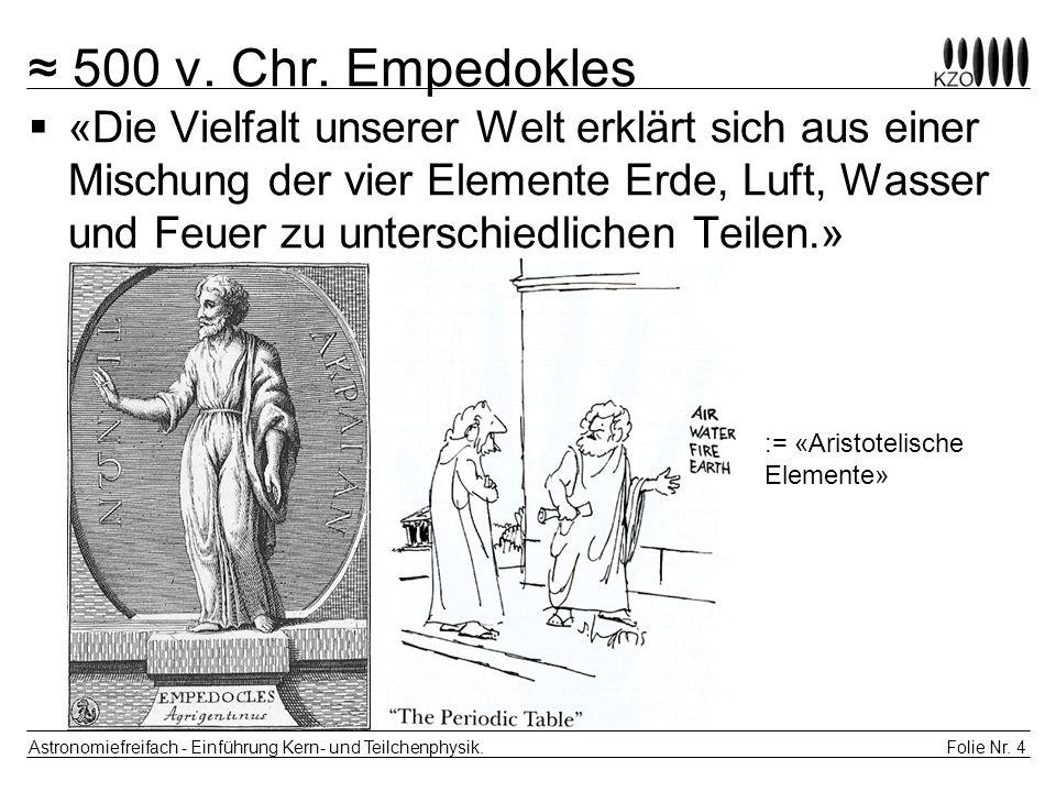 Folie Nr. 4 Astronomiefreifach - Einführung Kern- und Teilchenphysik. 500 v. Chr. Empedokles «Die Vielfalt unserer Welt erklärt sich aus einer Mischun