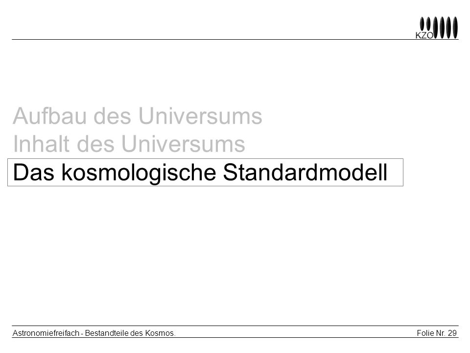 Folie Nr. 29 Astronomiefreifach - Bestandteile des Kosmos. Aufbau des Universums Inhalt des Universums Das kosmologische Standardmodell