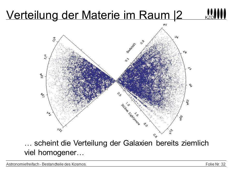 Folie Nr. 32 Astronomiefreifach - Bestandteile des Kosmos. Verteilung der Materie im Raum |2 … scheint die Verteilung der Galaxien bereits ziemlich vi