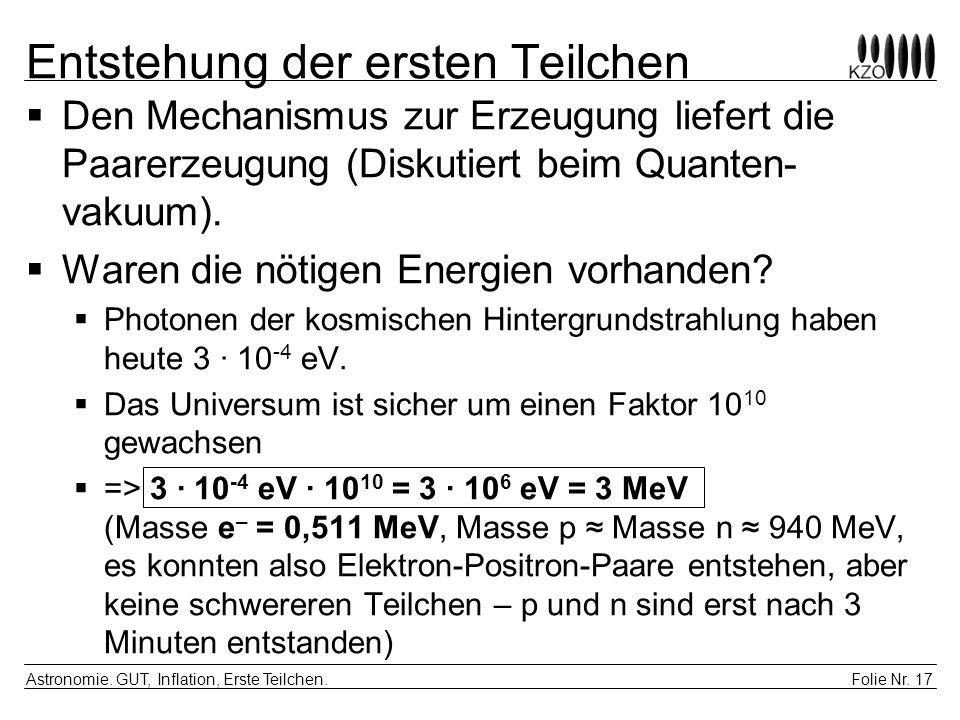 Folie Nr.17 Astronomie. GUT, Inflation, Erste Teilchen.