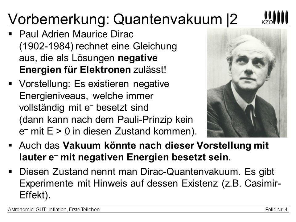 Folie Nr. 4 Astronomie. GUT, Inflation, Erste Teilchen. Vorbemerkung: Quantenvakuum |2 Paul Adrien Maurice Dirac (1902-1984) rechnet eine Gleichung au