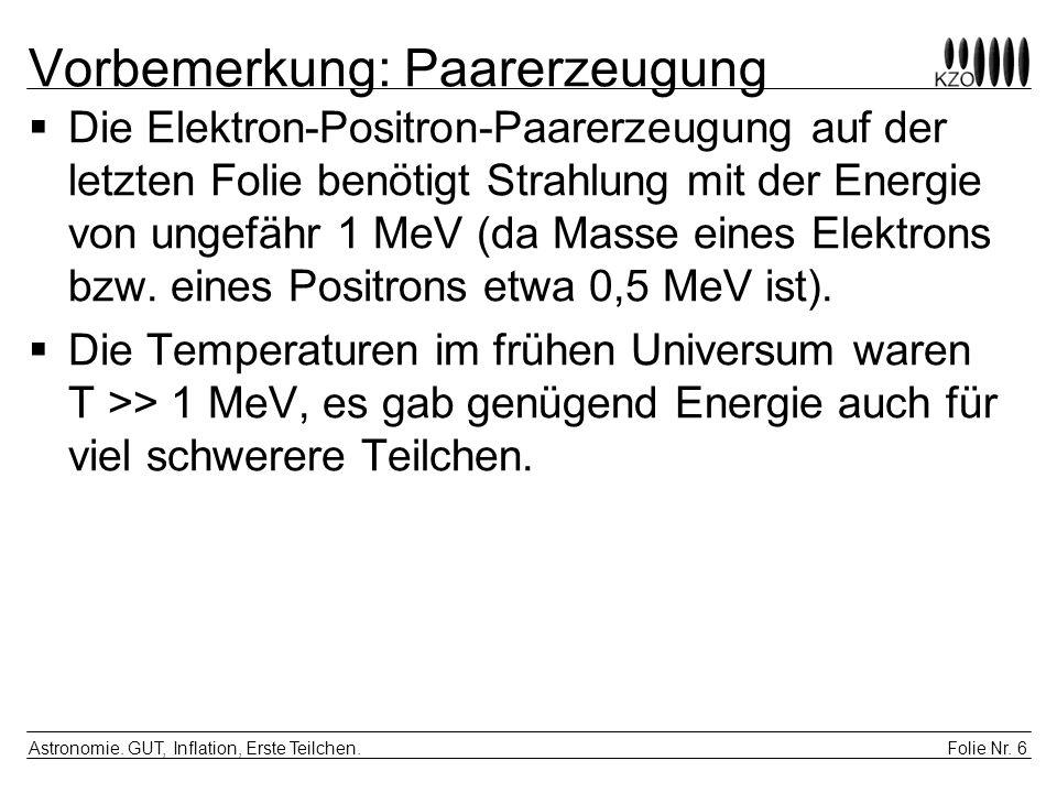 Folie Nr. 6 Astronomie. GUT, Inflation, Erste Teilchen. Vorbemerkung: Paarerzeugung Die Elektron-Positron-Paarerzeugung auf der letzten Folie benötigt