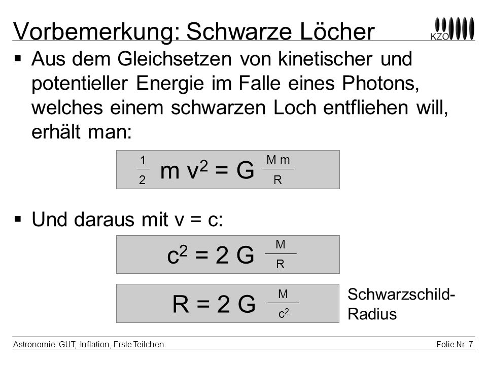 Folie Nr.7 Astronomie. GUT, Inflation, Erste Teilchen.