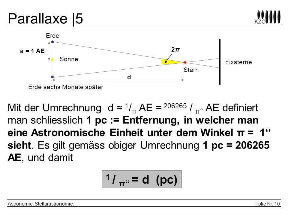 Folie Nr. 10 Astronomie. Stellarastronomie. Parallaxe |5 a = 1 AE 2π2π d Fixsterne Sonne Stern Erde Erde sechs Monate später Mit der Umrechnung d 1 /