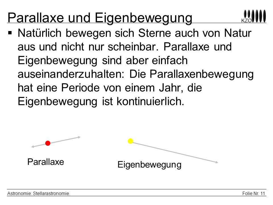 Folie Nr. 11 Astronomie. Stellarastronomie. Parallaxe und Eigenbewegung Natürlich bewegen sich Sterne auch von Natur aus und nicht nur scheinbar. Para