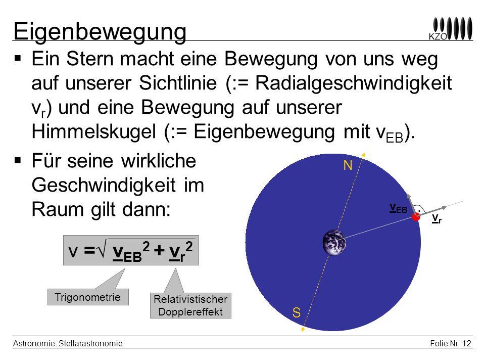 Folie Nr. 12 Astronomie. Stellarastronomie. Eigenbewegung Ein Stern macht eine Bewegung von uns weg auf unserer Sichtlinie (:= Radialgeschwindigkeit v