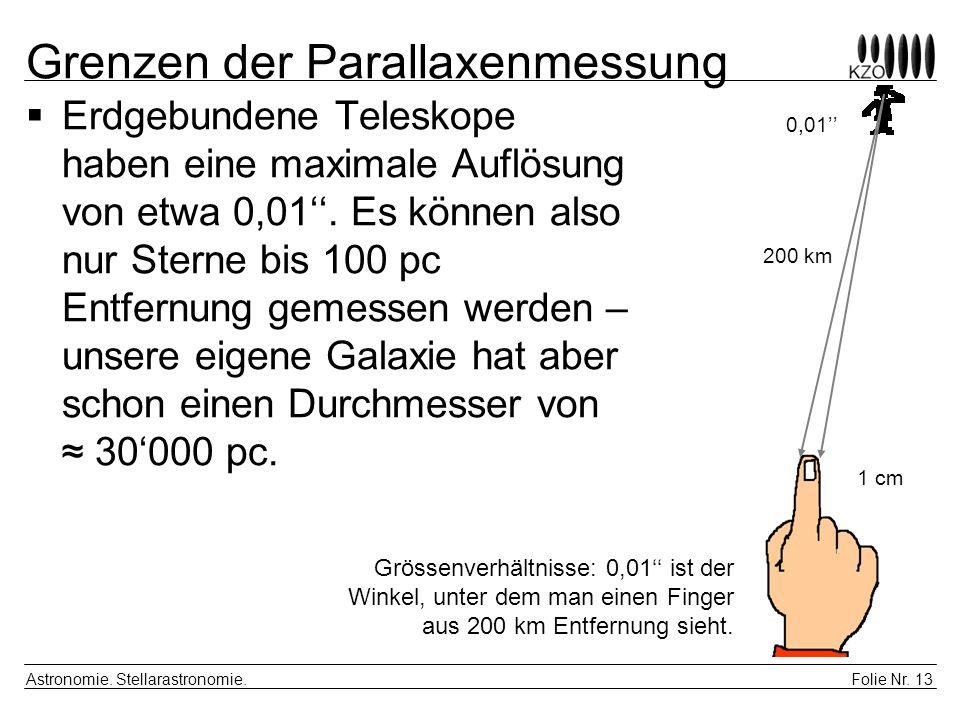 Folie Nr. 13 Astronomie. Stellarastronomie. Grenzen der Parallaxenmessung Erdgebundene Teleskope haben eine maximale Auflösung von etwa 0,01. Es könne