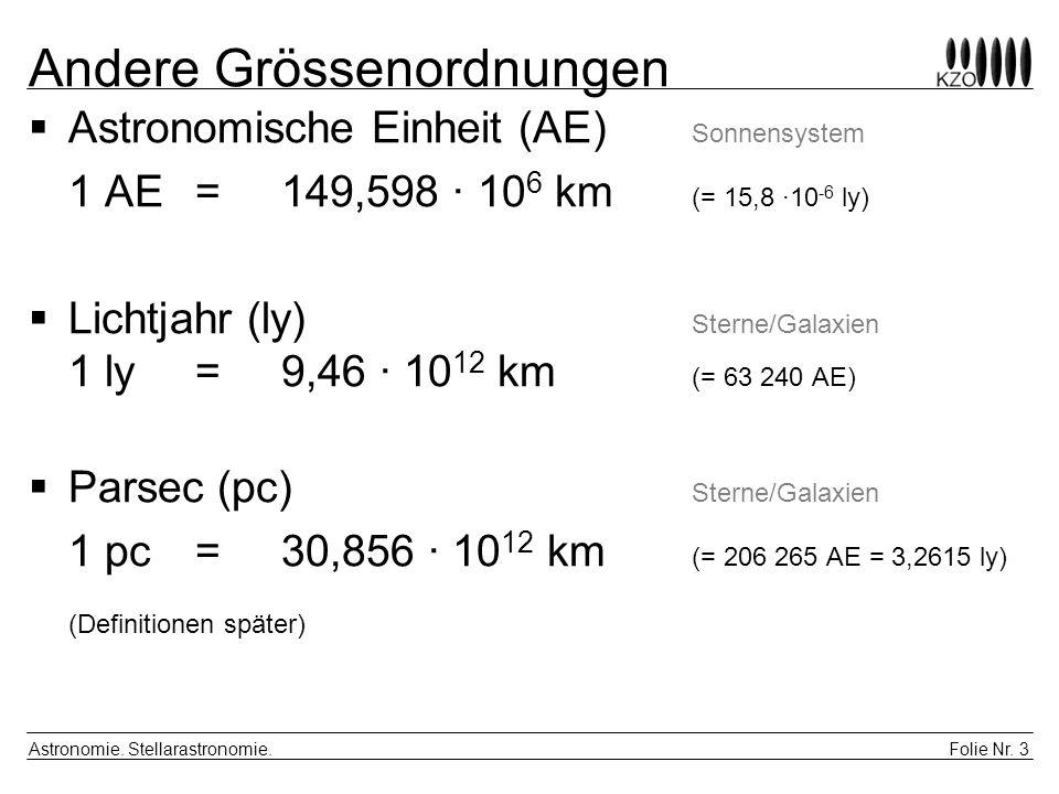 Folie Nr. 3 Astronomie. Stellarastronomie. Andere Grössenordnungen Astronomische Einheit (AE) Sonnensystem 1 AE = 149,598 · 10 6 km (= 15,8 ·10 -6 ly)