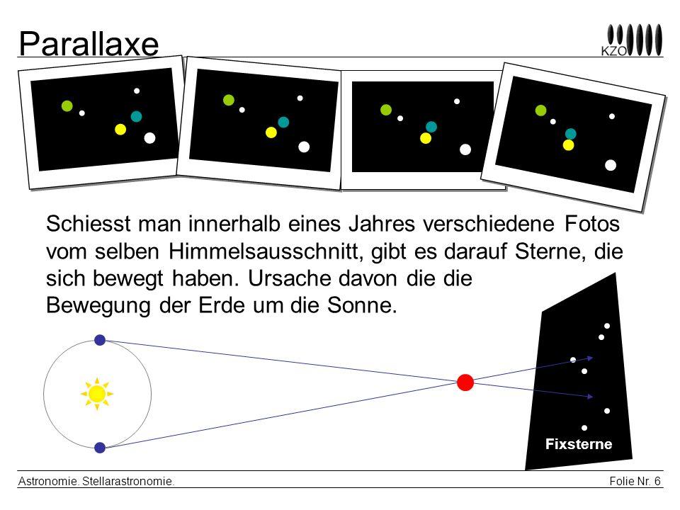 Folie Nr. 6 Astronomie. Stellarastronomie. Parallaxe Fixsterne Schiesst man innerhalb eines Jahres verschiedene Fotos vom selben Himmelsausschnitt, gi