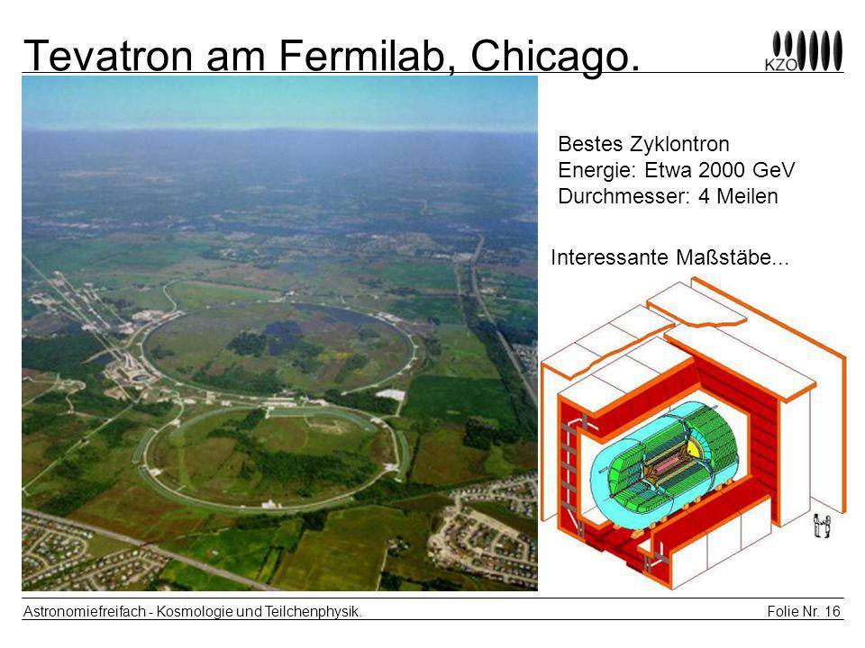 Folie Nr. 16 Astronomiefreifach - Kosmologie und Teilchenphysik. Tevatron am Fermilab, Chicago. Bestes Zyklontron Energie: Etwa 2000 GeV Durchmesser: