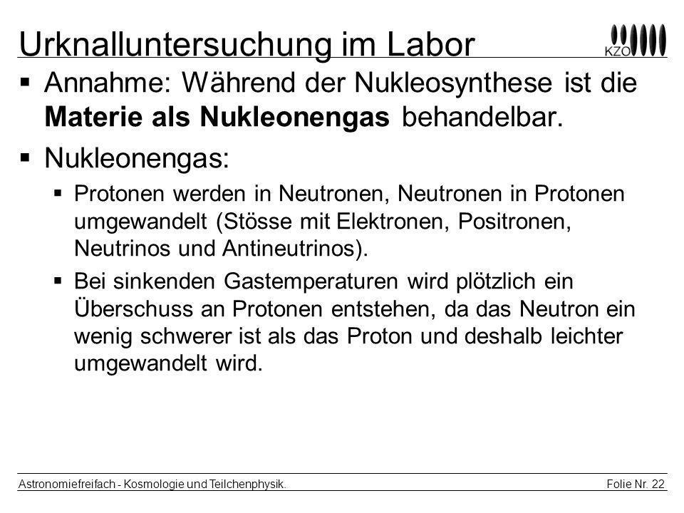 Folie Nr. 22 Astronomiefreifach - Kosmologie und Teilchenphysik. Urknalluntersuchung im Labor Annahme: Während der Nukleosynthese ist die Materie als