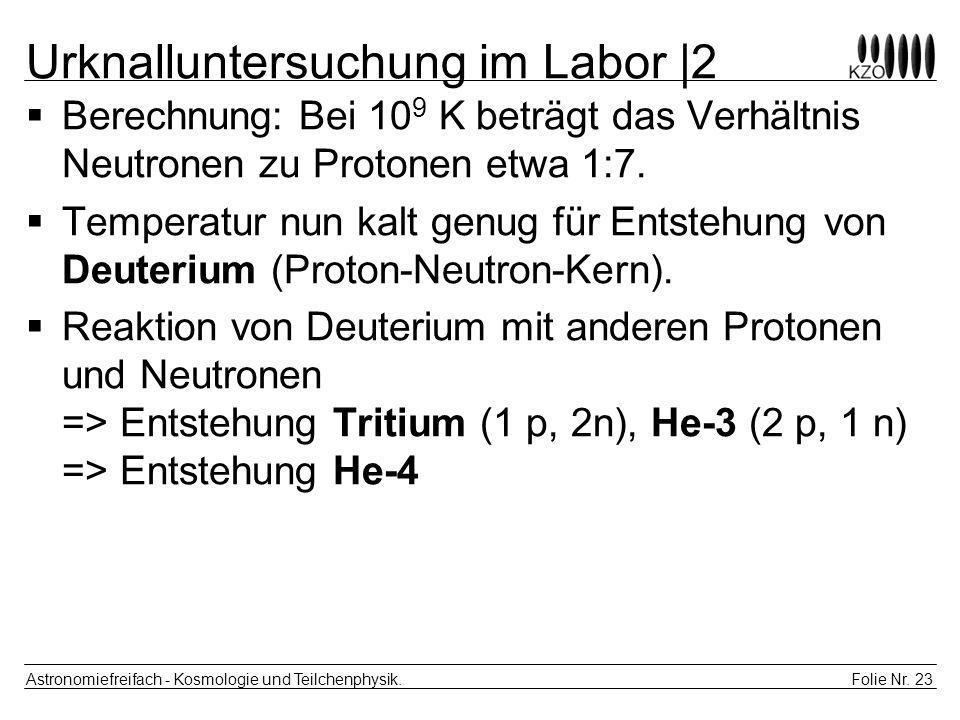 Folie Nr. 23 Astronomiefreifach - Kosmologie und Teilchenphysik. Urknalluntersuchung im Labor |2 Berechnung: Bei 10 9 K beträgt das Verhältnis Neutron