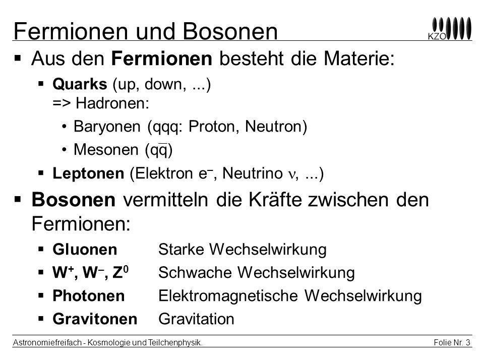 Folie Nr. 3 Astronomiefreifach - Kosmologie und Teilchenphysik. Fermionen und Bosonen Aus den Fermionen besteht die Materie: Quarks (up, down,...) =>