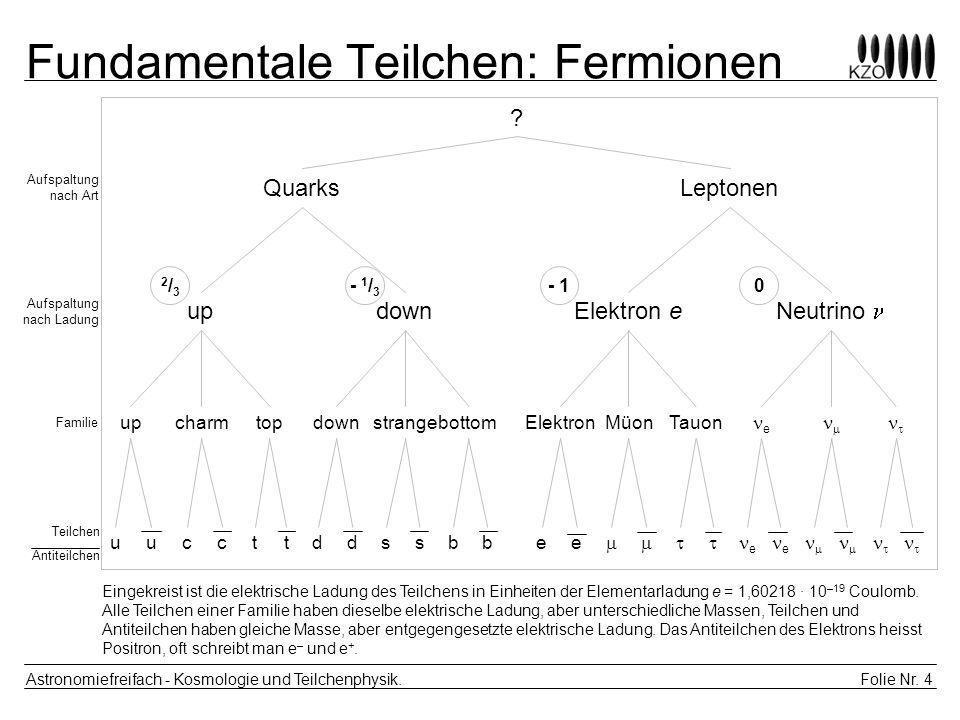Folie Nr. 4 Astronomiefreifach - Kosmologie und Teilchenphysik. Fundamentale Teilchen: Fermionen ? LeptonenQuarks updownElektron e Neutrino upcharmtop