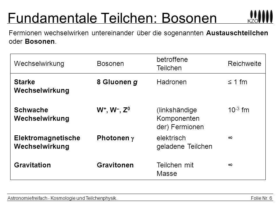Folie Nr.17 Astronomiefreifach - Kosmologie und Teilchenphysik.