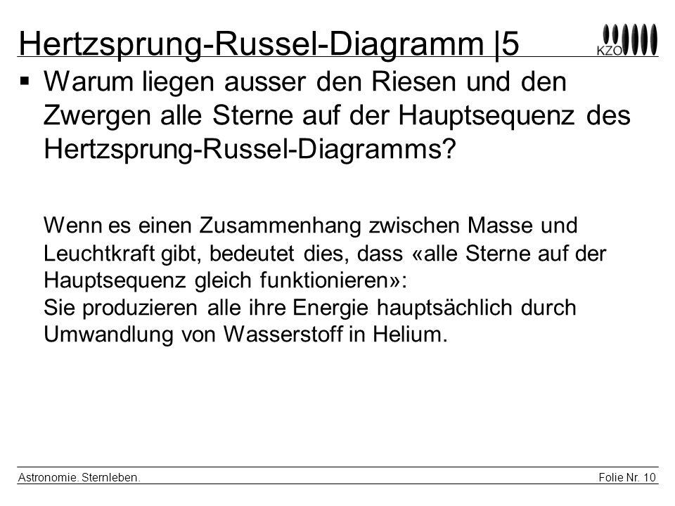 Folie Nr. 10 Astronomie. Sternleben. Hertzsprung-Russel-Diagramm |5 Warum liegen ausser den Riesen und den Zwergen alle Sterne auf der Hauptsequenz de