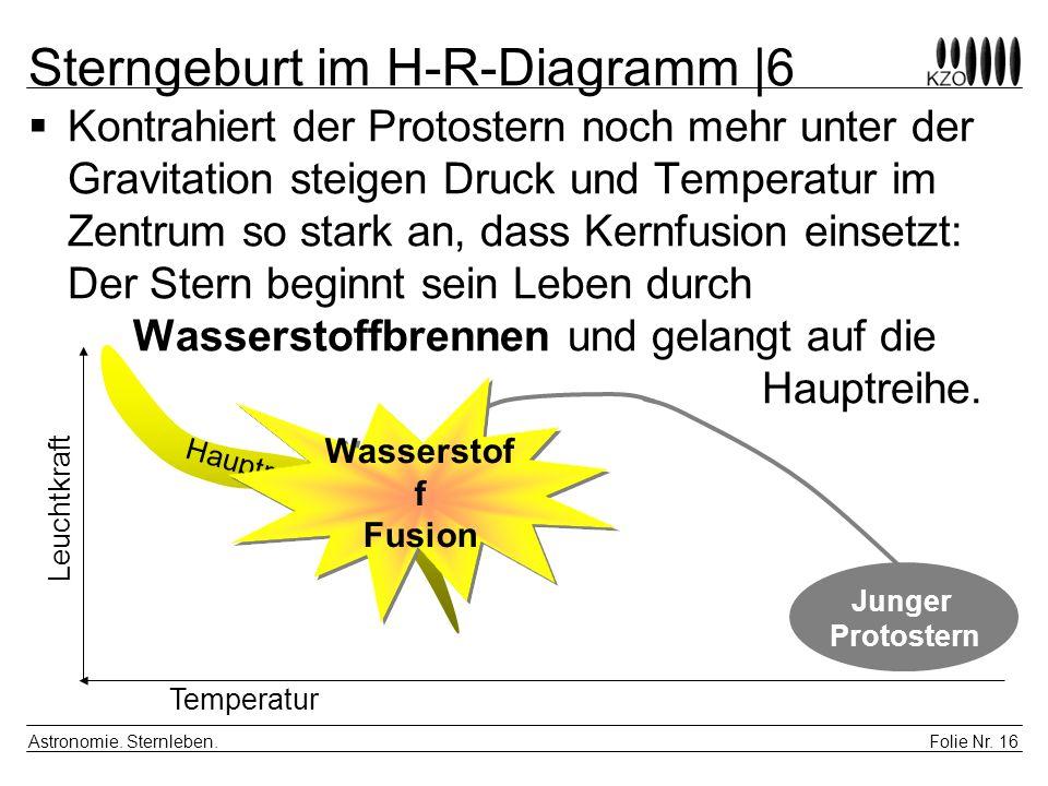 Folie Nr. 16 Astronomie. Sternleben. Sterngeburt im H-R-Diagramm |6 Kontrahiert der Protostern noch mehr unter der Gravitation steigen Druck und Tempe