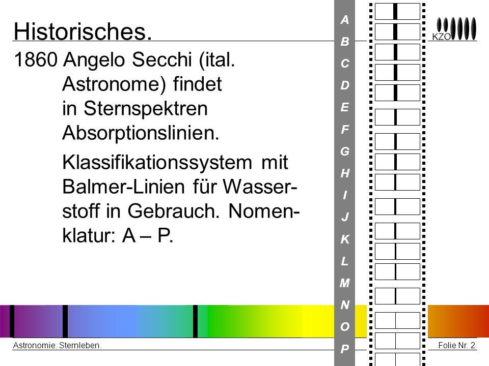 Folie Nr. 2 Astronomie. Sternleben. Historisches. 1860 Angelo Secchi (ital. Astronome) findet in Sternspektren Absorptionslinien. Klassifikationssyste