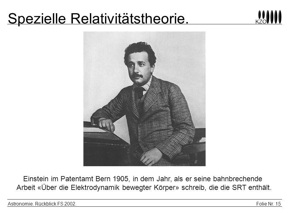Folie Nr. 15 Astronomie. Rückblick FS 2002. Spezielle Relativitätstheorie. Einstein im Patentamt Bern 1905, in dem Jahr, als er seine bahnbrechende Ar