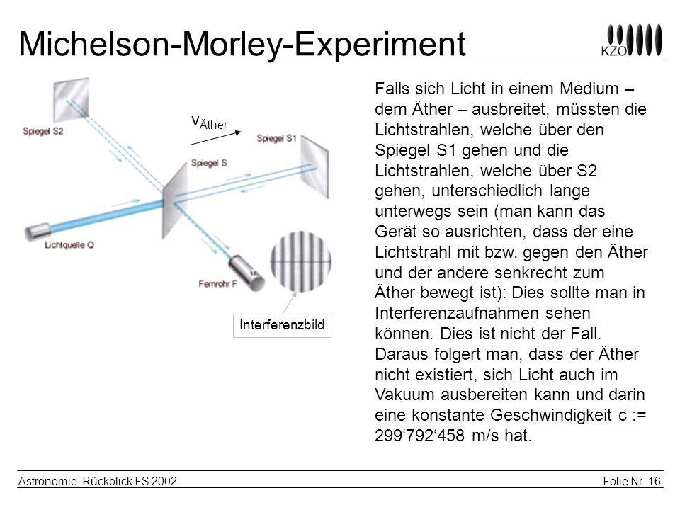 Folie Nr. 16 Astronomie. Rückblick FS 2002. Michelson-Morley-Experiment Falls sich Licht in einem Medium – dem Äther – ausbreitet, müssten die Lichtst
