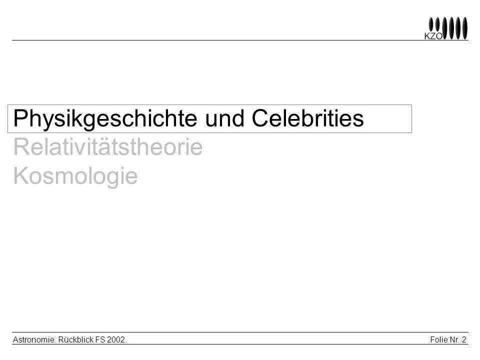 Folie Nr. 2 Astronomie. Rückblick FS 2002. Physikgeschichte und Celebrities Relativitätstheorie Kosmologie