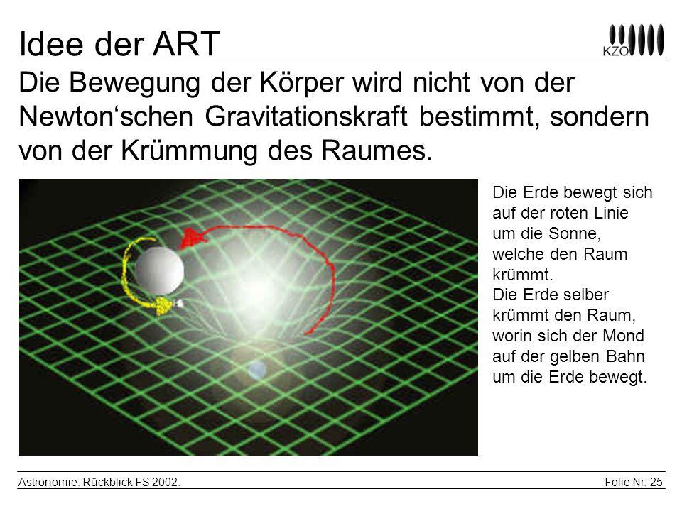 Folie Nr. 25 Astronomie. Rückblick FS 2002. Idee der ART Die Bewegung der Körper wird nicht von der Newtonschen Gravitationskraft bestimmt, sondern vo