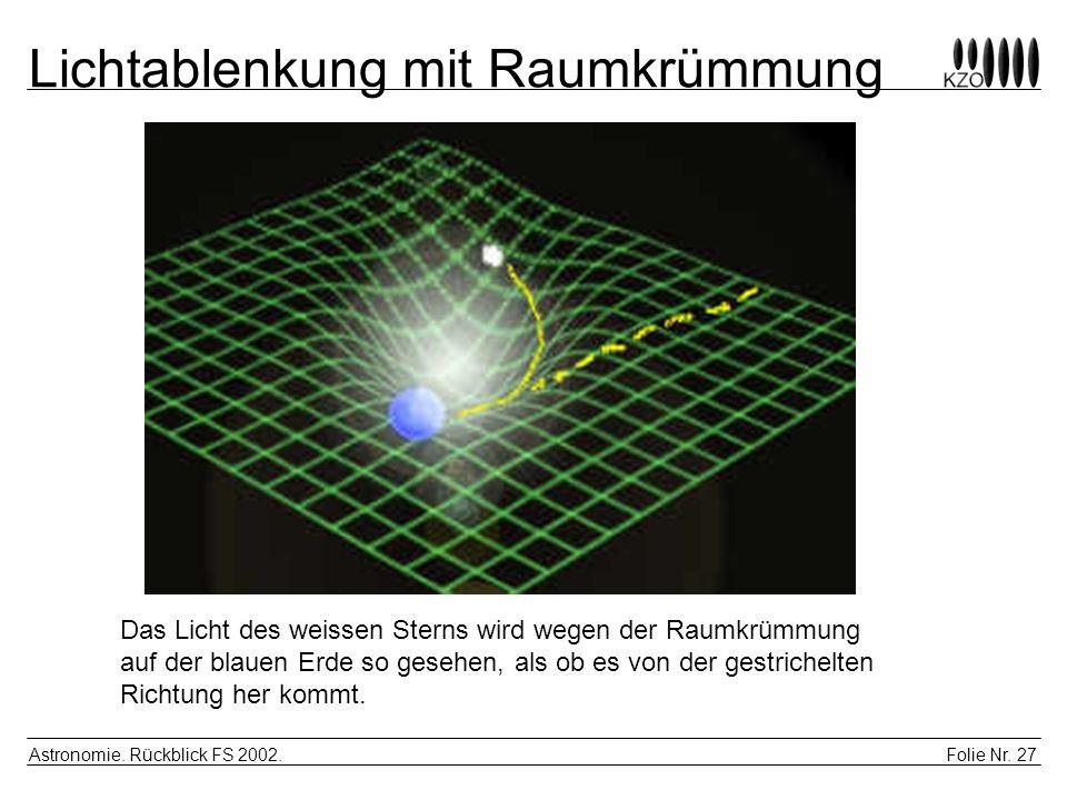 Folie Nr. 27 Astronomie. Rückblick FS 2002. Lichtablenkung mit Raumkrümmung Das Licht des weissen Sterns wird wegen der Raumkrümmung auf der blauen Er