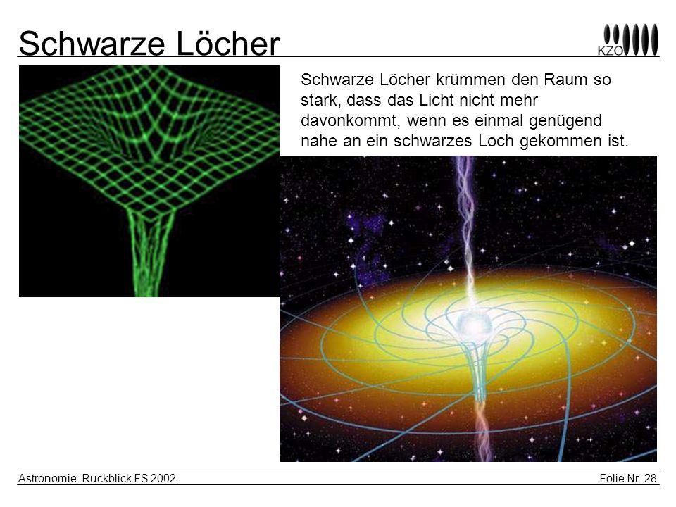 Folie Nr. 28 Astronomie. Rückblick FS 2002. Schwarze Löcher Schwarze Löcher krümmen den Raum so stark, dass das Licht nicht mehr davonkommt, wenn es e