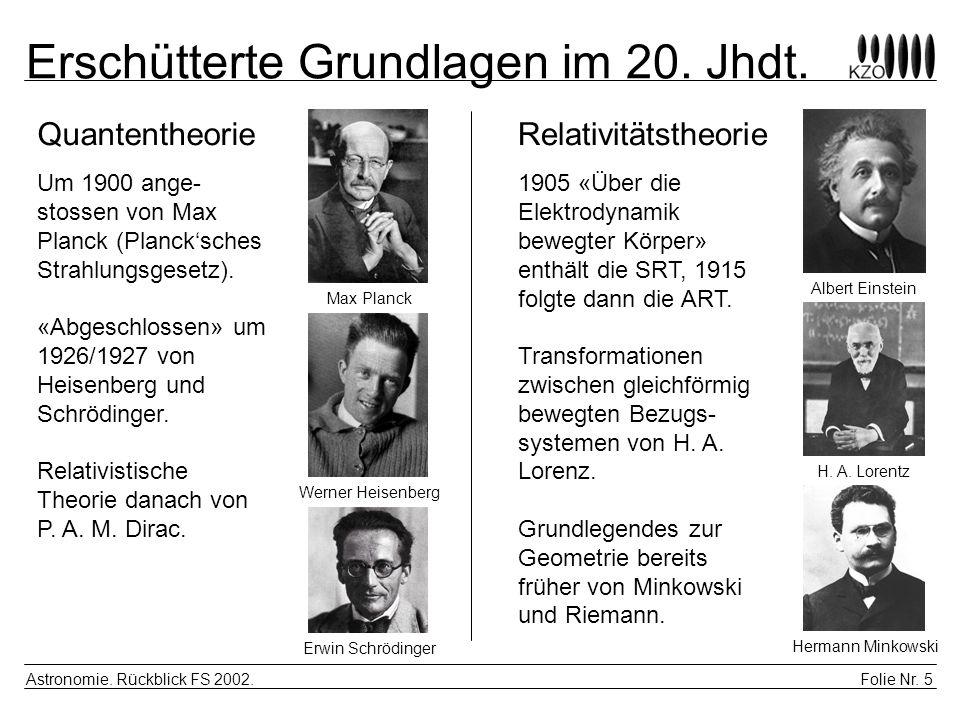 Folie Nr. 5 Astronomie. Rückblick FS 2002. Erschütterte Grundlagen im 20. Jhdt. QuantentheorieRelativitätstheorie Um 1900 ange- stossen von Max Planck