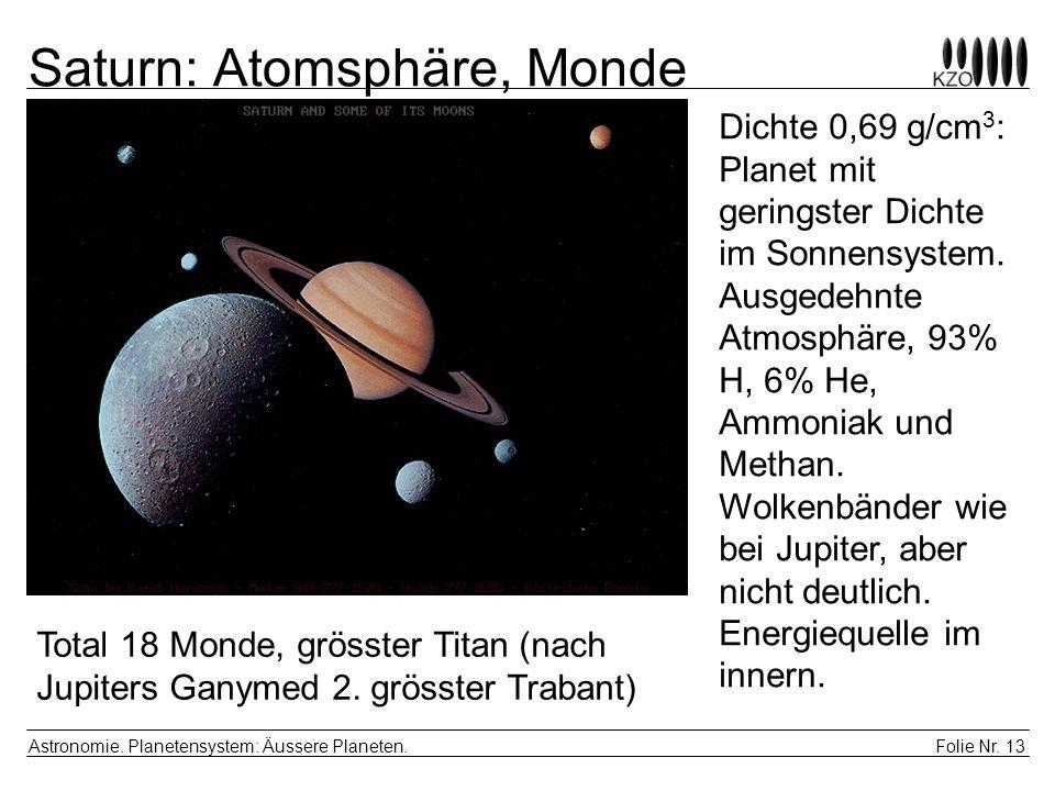 Folie Nr. 13 Astronomie. Planetensystem: Äussere Planeten. Saturn: Atomsphäre, Monde Dichte 0,69 g/cm 3 : Planet mit geringster Dichte im Sonnensystem