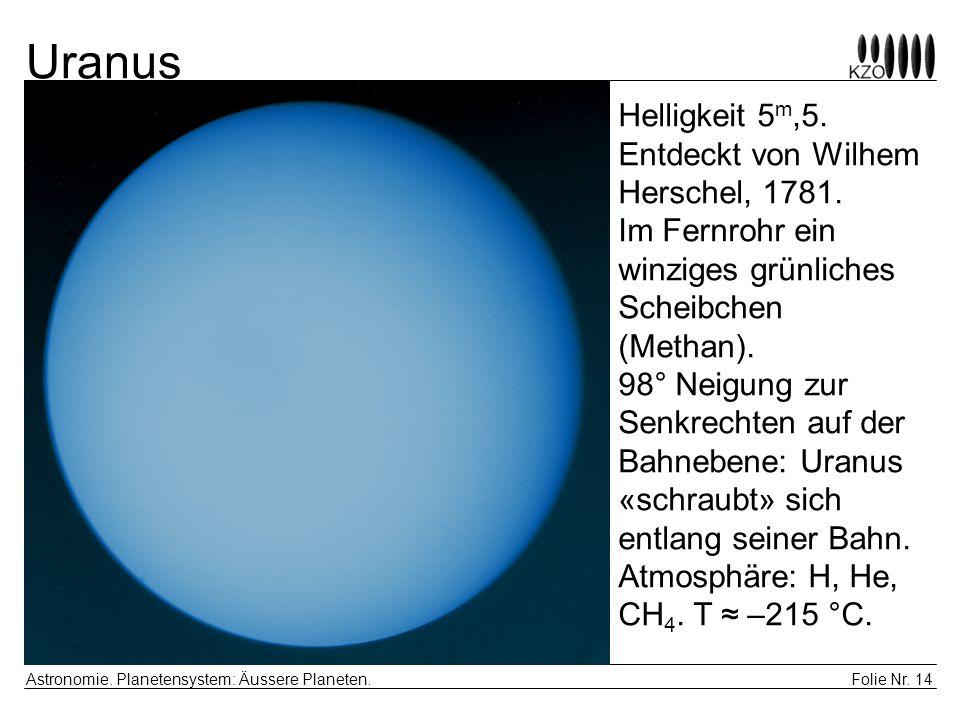Folie Nr. 14 Astronomie. Planetensystem: Äussere Planeten. Uranus Helligkeit 5 m,5. Entdeckt von Wilhem Herschel, 1781. Im Fernrohr ein winziges grünl
