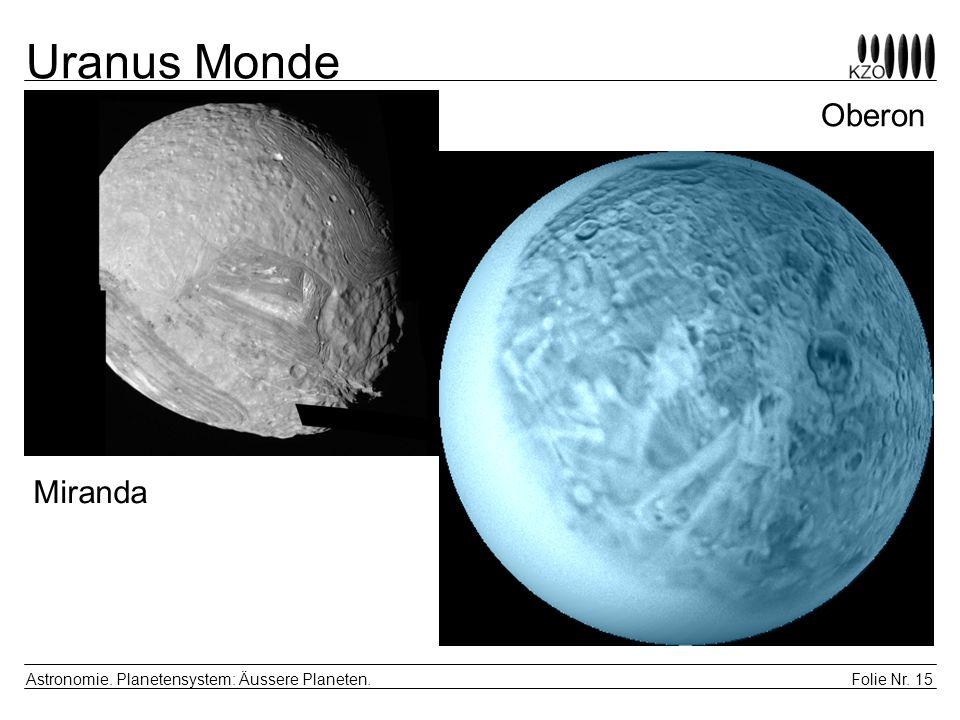 Folie Nr. 15 Astronomie. Planetensystem: Äussere Planeten. Uranus Monde Miranda Oberon