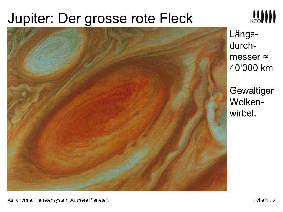 Folie Nr. 8 Astronomie. Planetensystem: Äussere Planeten. Jupiter: Der grosse rote Fleck Längs- durch- messer 40000 km Gewaltiger Wolken- wirbel.