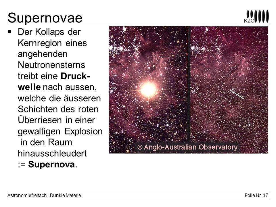 Folie Nr. 17 Astronomiefreifach - Dunkle Materie. Supernovae Der Kollaps der Kernregion eines angehenden Neutronensterns treibt eine Druck- welle nach