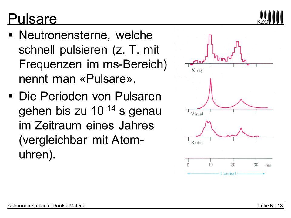 Folie Nr. 18 Astronomiefreifach - Dunkle Materie. Pulsare Neutronensterne, welche schnell pulsieren (z. T. mit Frequenzen im ms-Bereich) nennt man «Pu