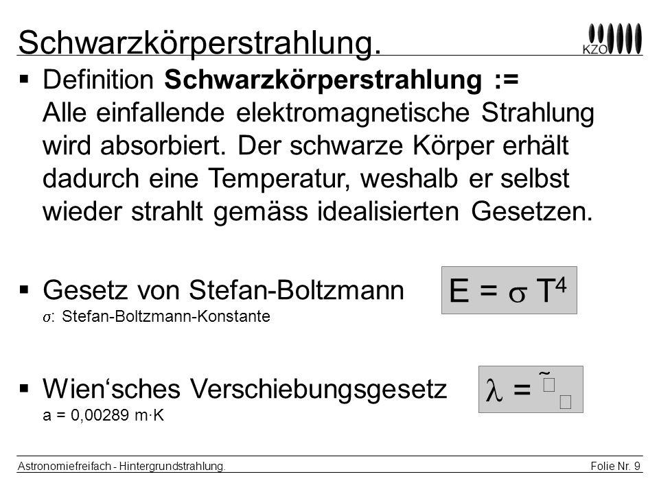 Folie Nr. 9 Astronomiefreifach - Hintergrundstrahlung. Schwarzkörperstrahlung. Definition Schwarzkörperstrahlung := Alle einfallende elektromagnetisch